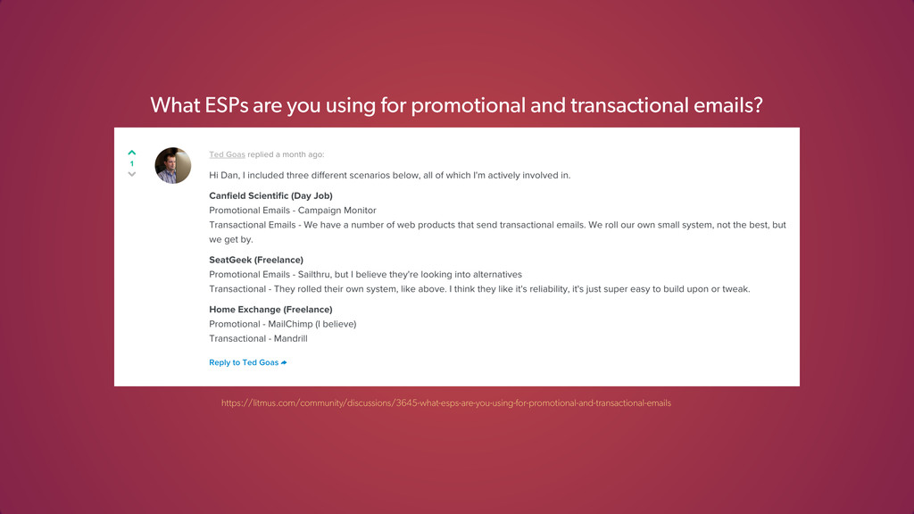 What ESPs are you using for promotional and tra...