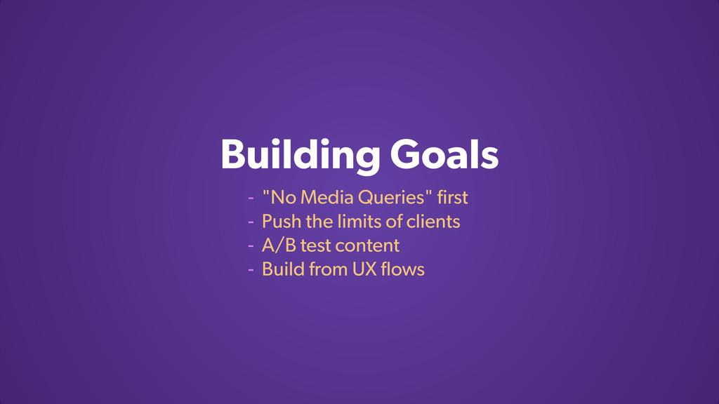 """Building Goals - """"No Media Queries"""" first - Push..."""