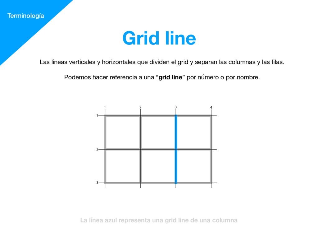 Grid line Terminología La línea azul representa...