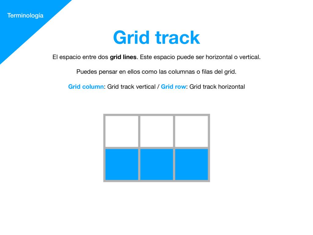 Grid track Terminología El espacio entre dos gr...