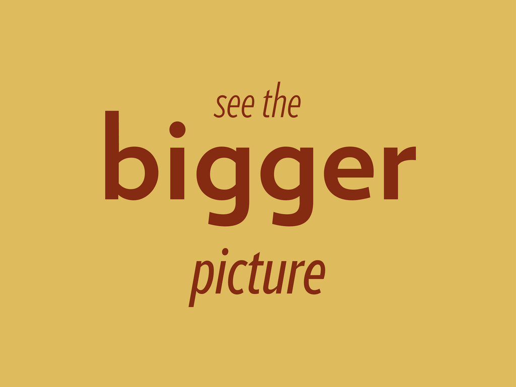 see the bigger picture