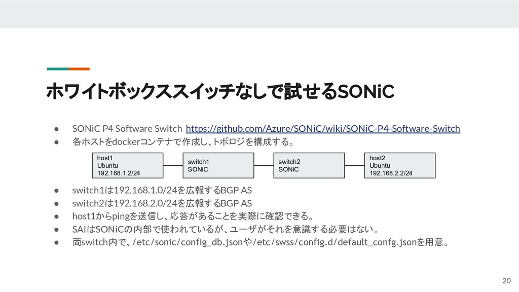 ホワイトボックススイッチなしで試せるSONiC ● SONiC P4 Software Swi...