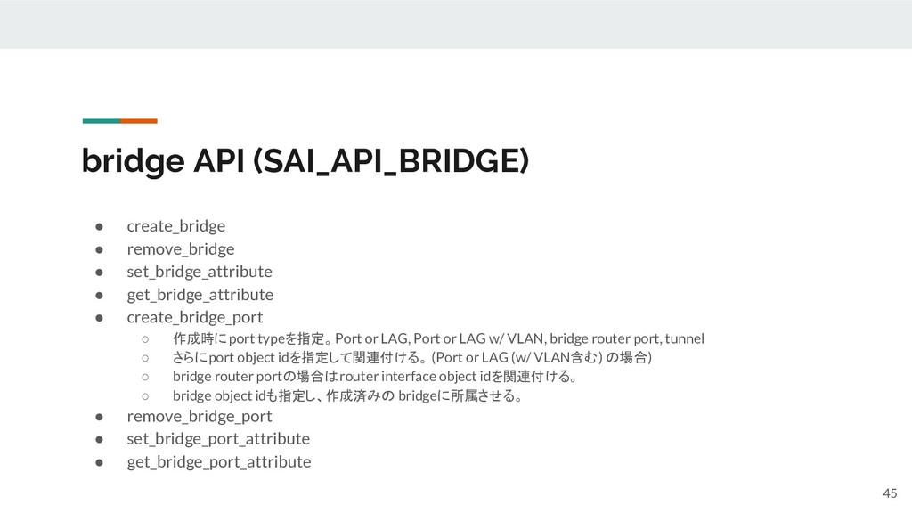 bridge API (SAI_API_BRIDGE) ● create_bridge ● r...