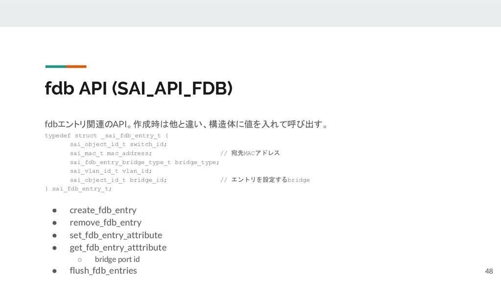 fdb API (SAI_API_FDB) fdbエントリ関連のAPI。作成時は他と違い、構造...