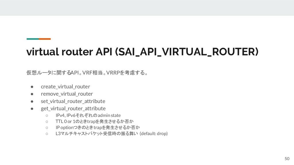 virtual router API (SAI_API_VIRTUAL_ROUTER) 仮想ル...