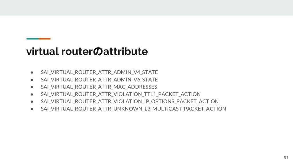 virtual routerのattribute ● SAI_VIRTUAL_ROUTER_A...