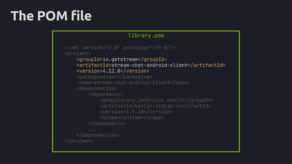 """The POM file library.pom <?xml version=""""1.0"""" en..."""