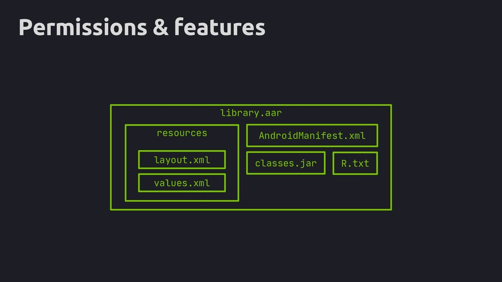 Permissions & features library.aar resources la...