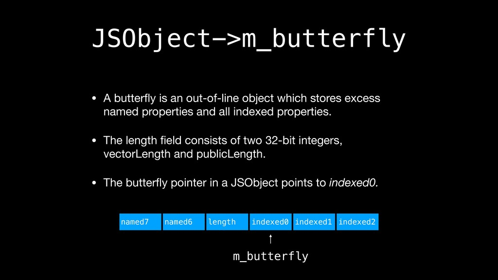JSObject->m_butterfly • A butterfly is an out-of...