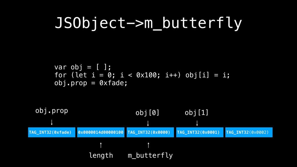 JSObject->m_butterfly var obj = [ ]; for (let i...