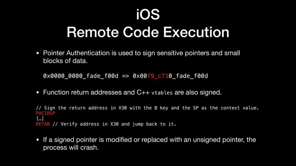 iOS Remote Code Execution • Pointer Authenticat...