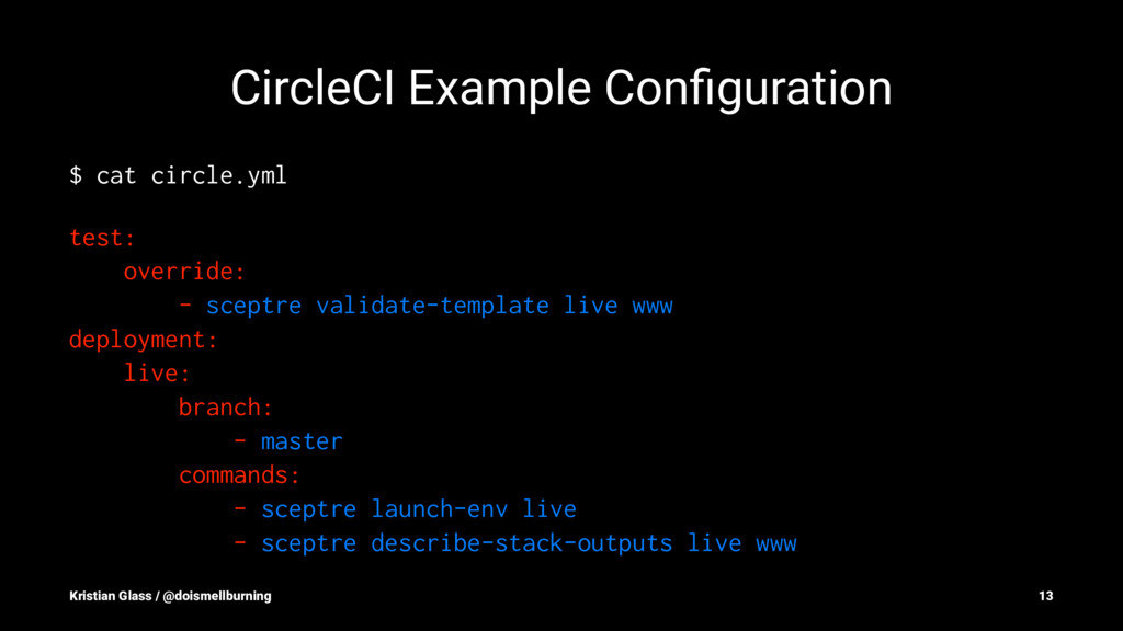 CircleCI Example Configuration $ cat circle.yml ...