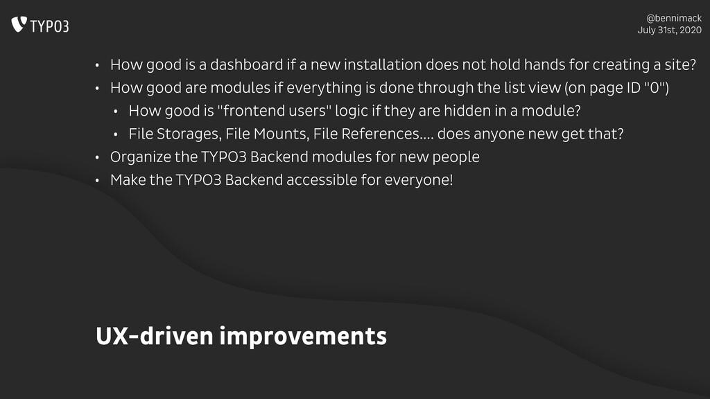@bennimack July 31st, 2020 UX-driven improvemen...