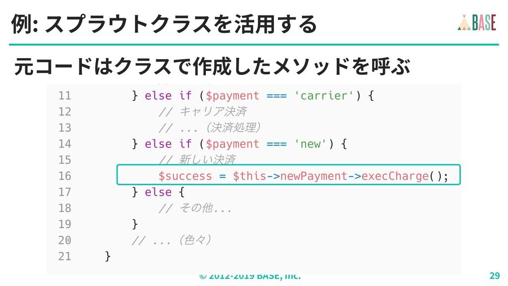 © - BASE, Inc. 例: スプラウトクラスを活⽤する 元コードはクラスで作成したメソ...
