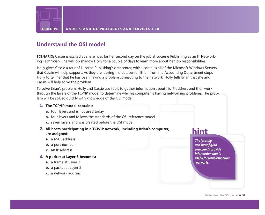 Understand the OSI model 35 OBJECTIVE UNDERSTAN...