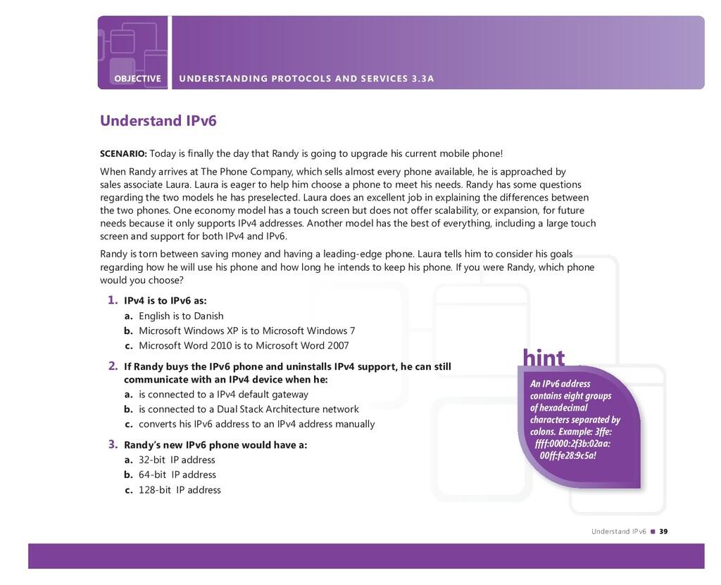 Understand IPv6 39 OBJECTIVE UNDERSTANDING ACTI...
