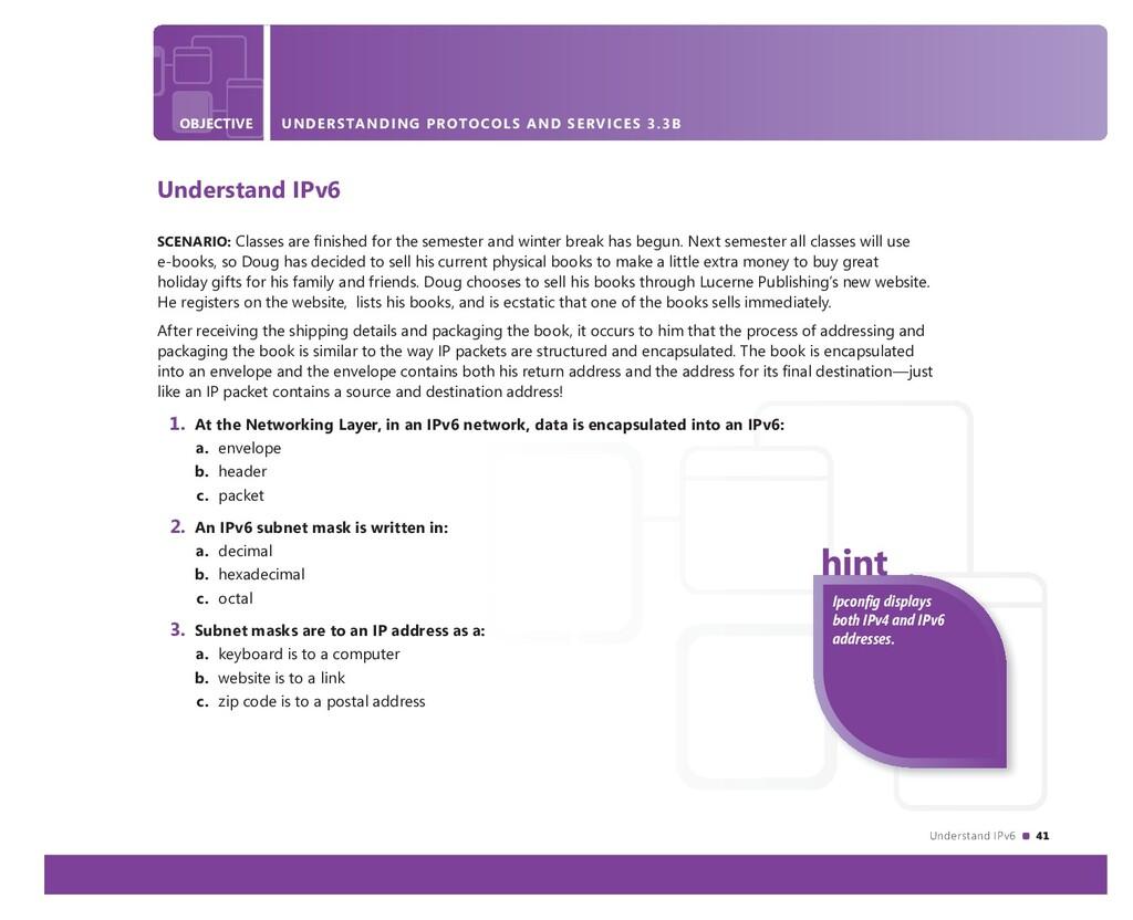 Understand IPv6 41 OBJECTIVE UNDERSTANDING PROT...