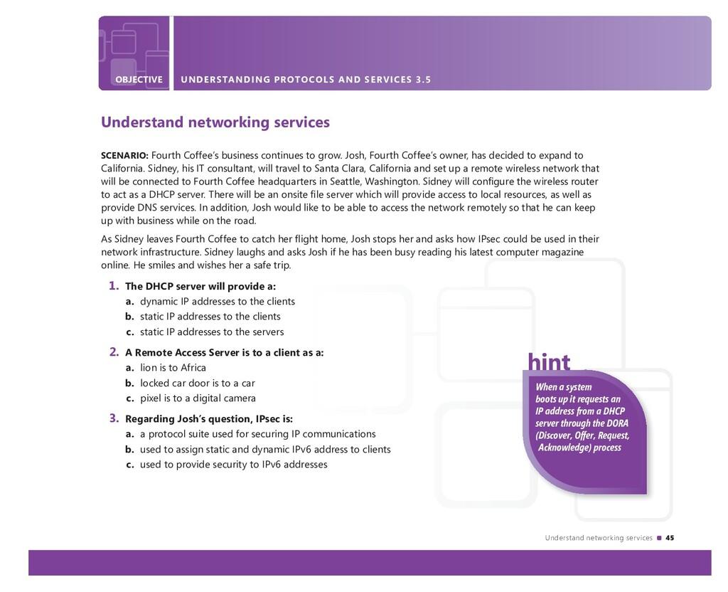 Understand networking services 45 OBJECTIVE UND...