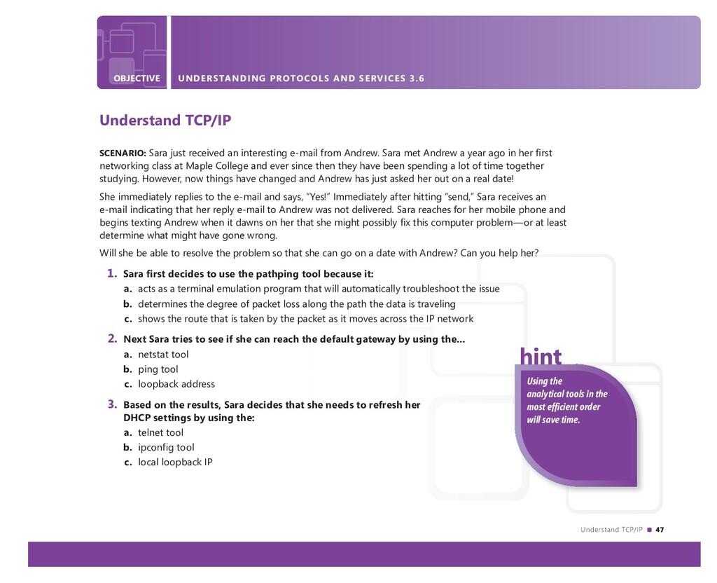Understand TCP/IP 47 OBJECTIVE UNDERSTANDING PR...