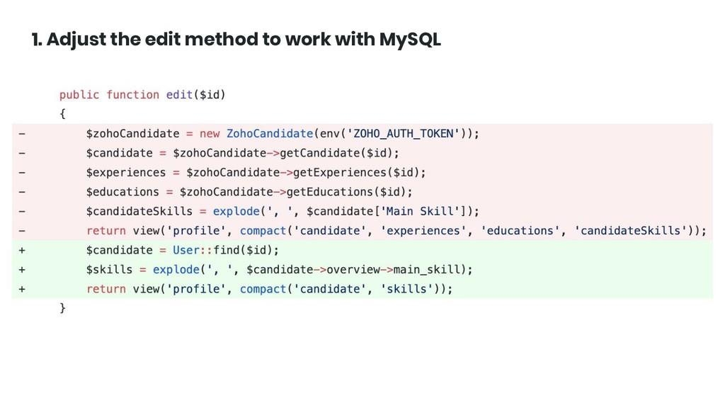 @ktrajchevska 1. Adjust the edit method to work...
