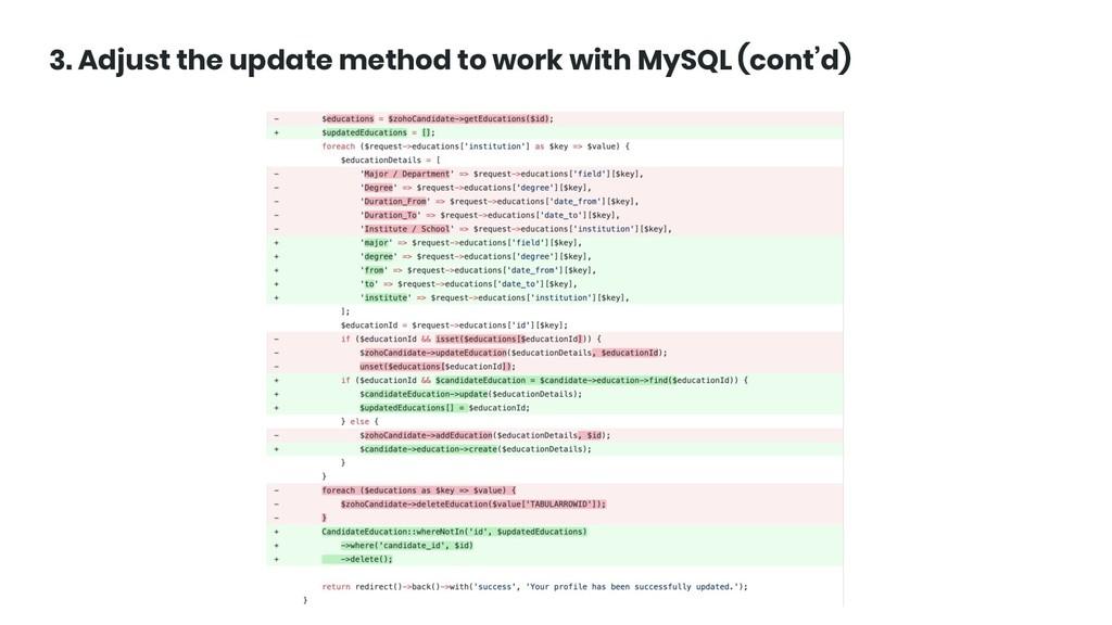 @ktrajchevska 3. Adjust the update method to wo...