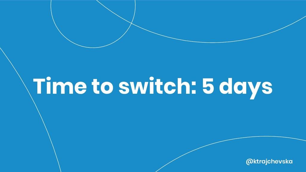 @ktrajchevska Time to switch: 5 days