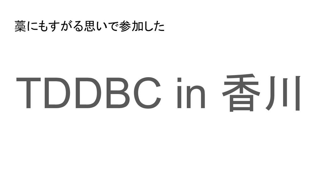 藁にもすがる思いで参加した TDDBC in 香川