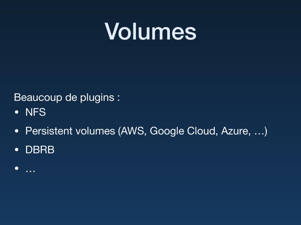 Volumes Beaucoup de plugins :  • NFS  • Persist...