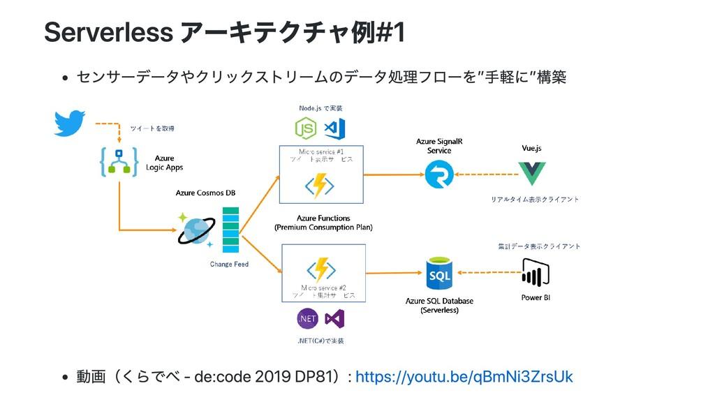 Serverless アーキテクチャ例#1 センサーデータやクリックストリームのデータ処理フロ...