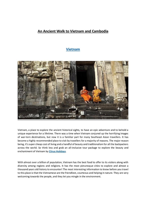 An Ancient Walk to Vietnam and Cambodia Vietnam...