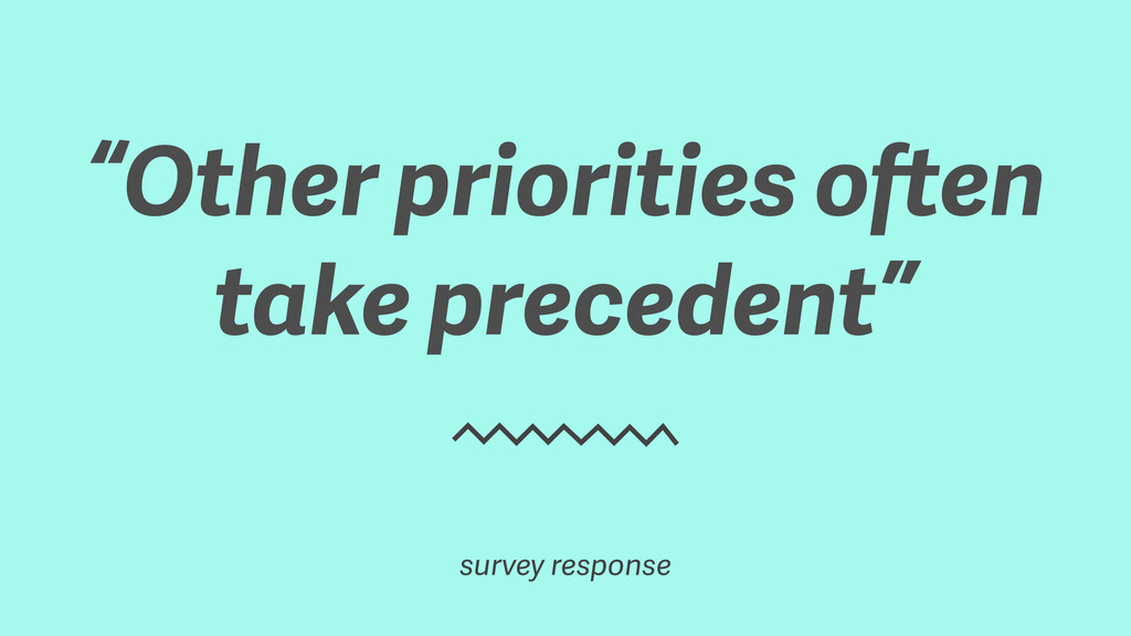 """Other priorities often take precedent"" survey ..."