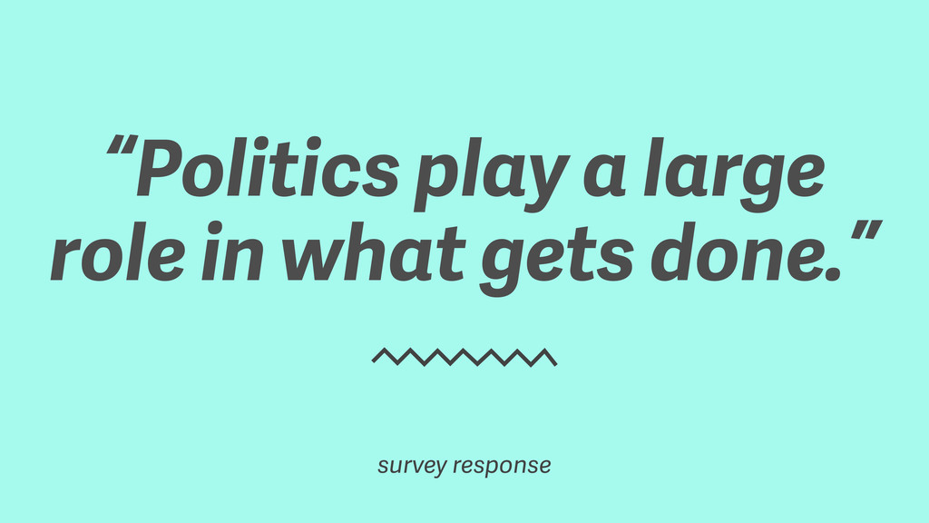 """Politics play a large role in what gets done.""..."