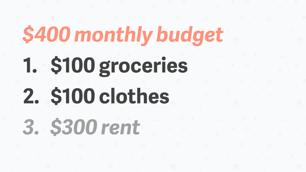 $400 monthly budget 1. $100 groceries 2. $100 c...