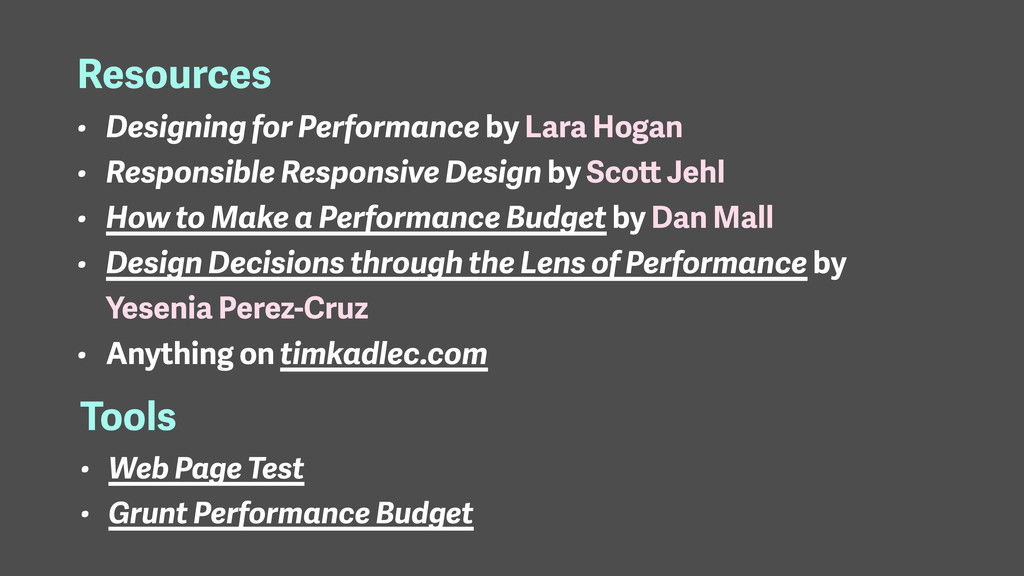 Resources • Designing for Performance by Lara H...
