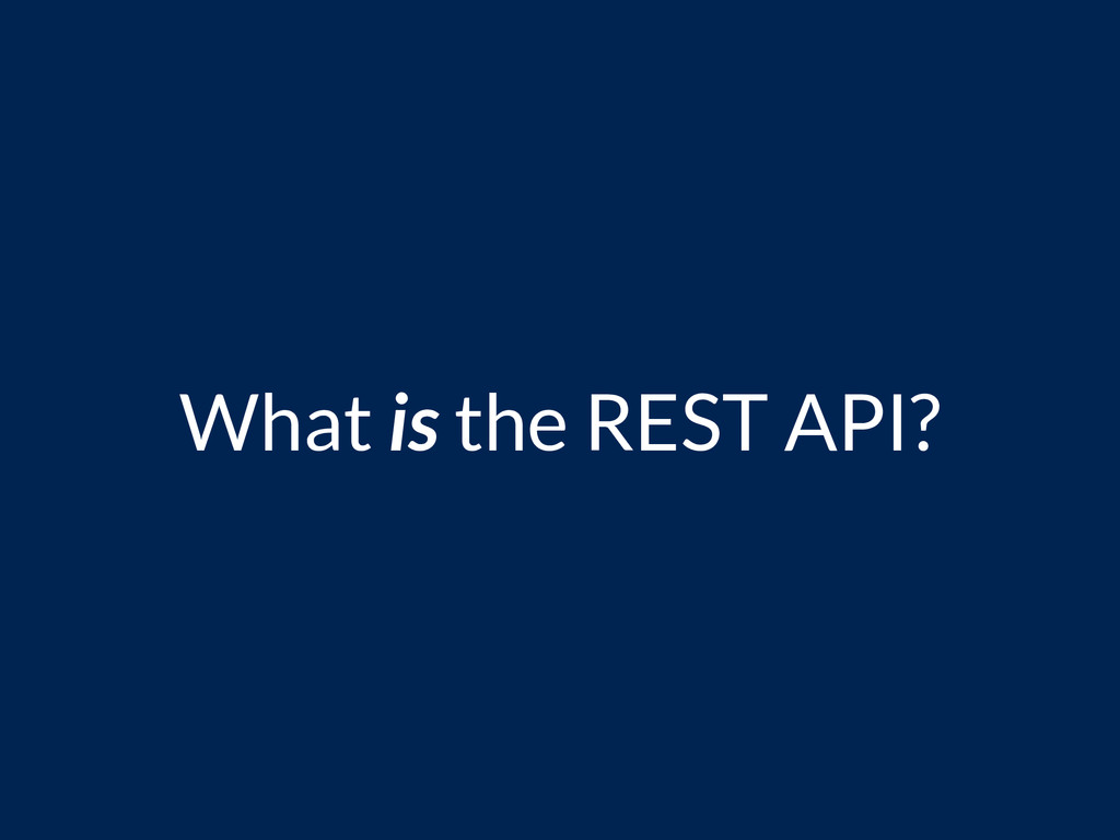 What is the REST API?