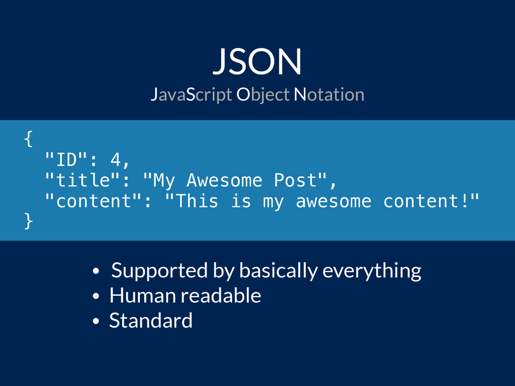 """JSON { """"ID"""": 4, """"title"""": """"My Awesome Post"""", """"co..."""