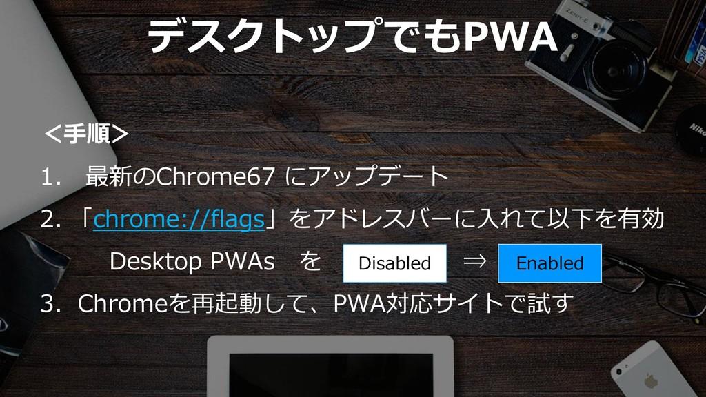37 デスクトップでもPWA <手順> 1. 最新のChrome67 にアップデート 2. 「...