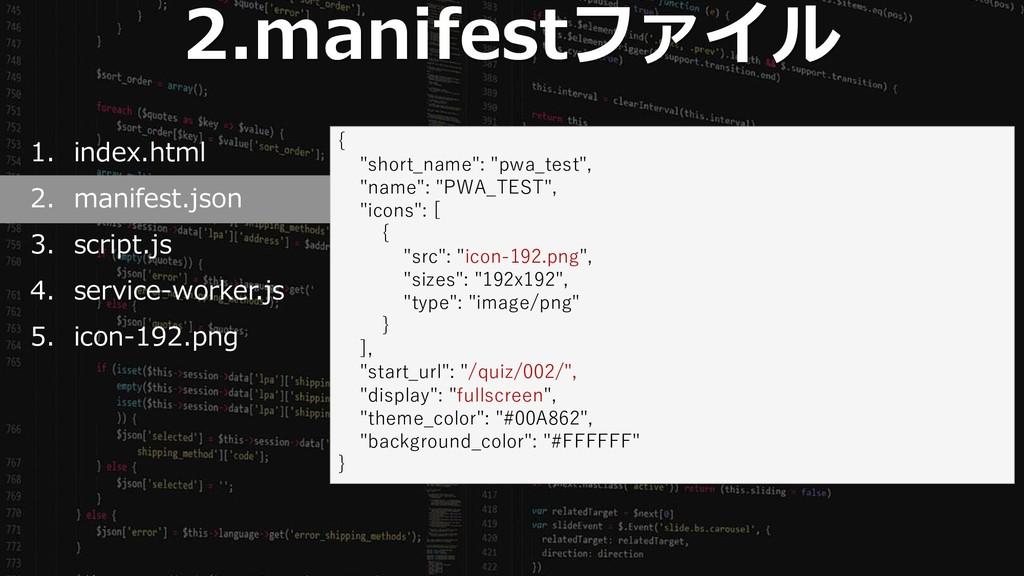 47 2.manifestファイル 1. index.html 2. manifest.jso...