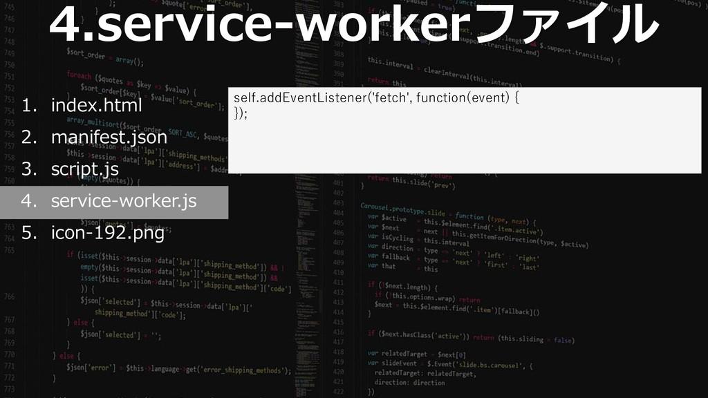 49 4.service-workerファイル 1. index.html 2. manife...