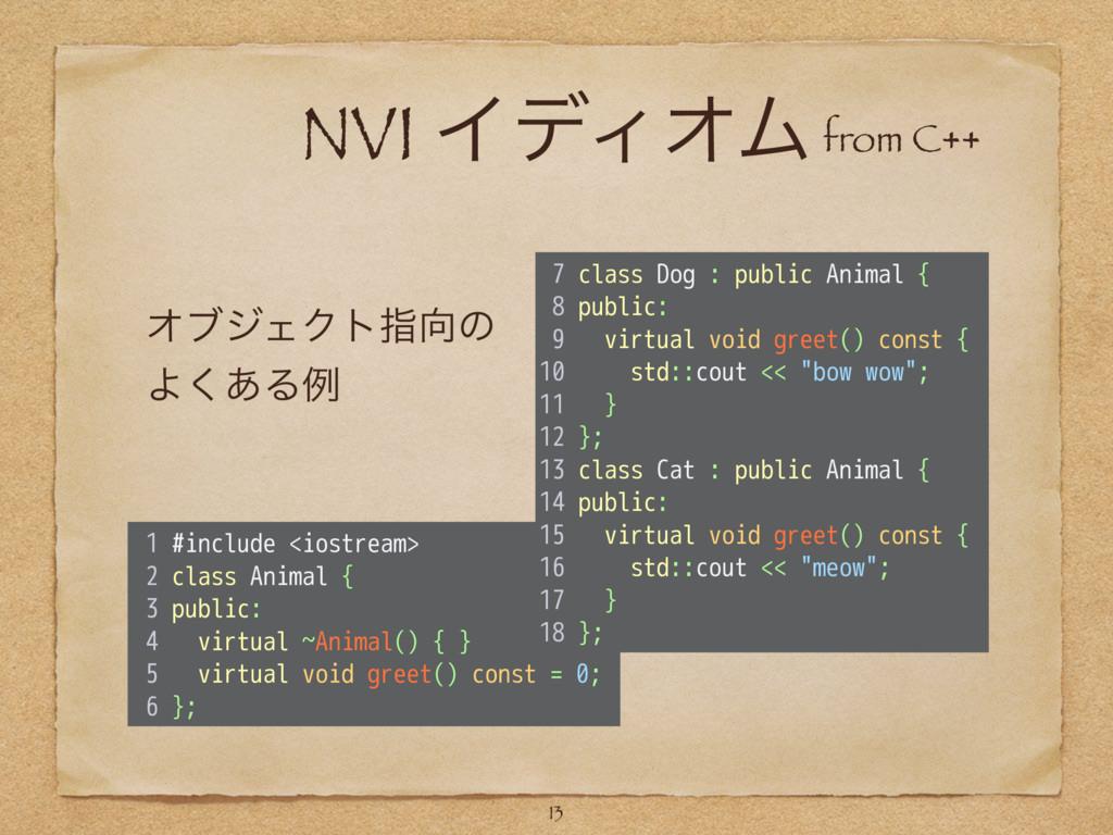 NVI ΠσΟΦϜ 13 1 #include <iostream> 2 class Anim...