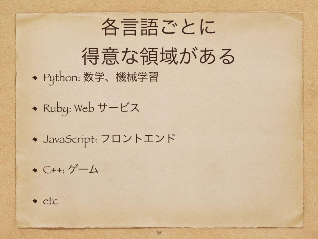 ֤ݴޠ͝ͱʹ ಘҙͳྖҬ͕͋Δ Python: ֶɺػցֶश Ruby: Web αʔϏε ...