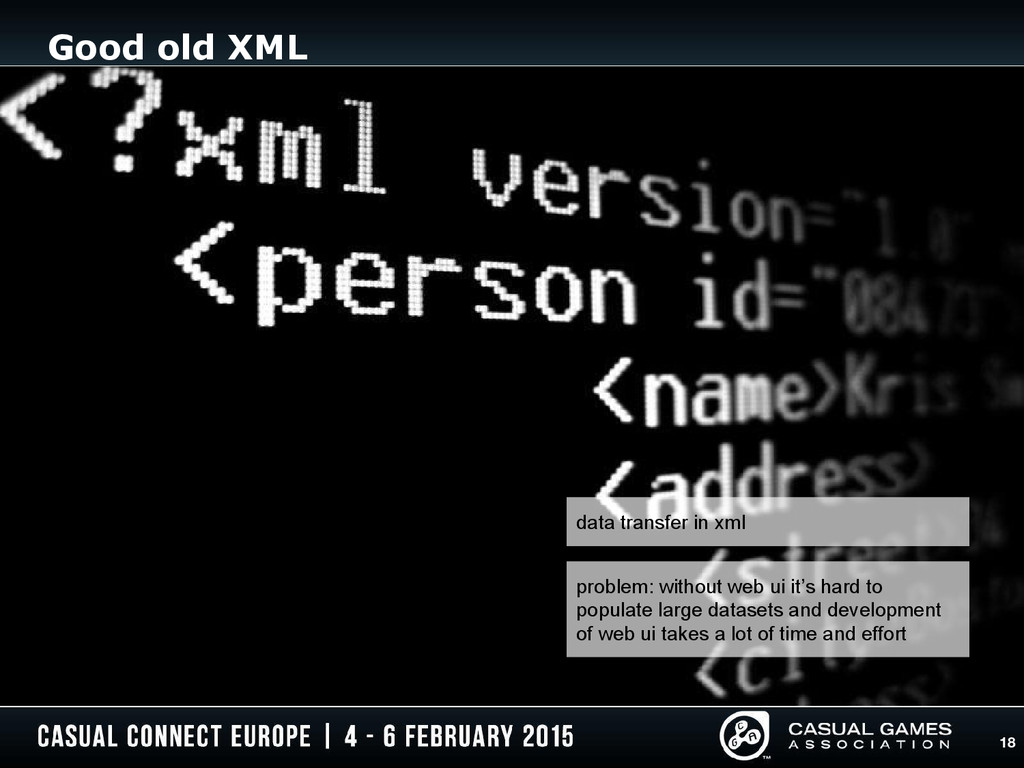 18 Good old XML source: http://toasticusprime.t...