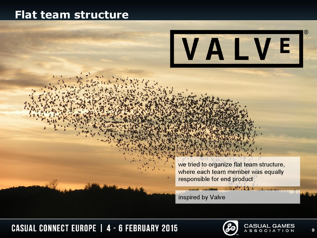 9 Flat team structure inspired by Valve we trie...