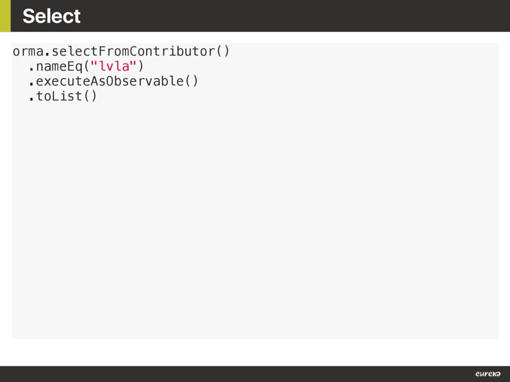 """Select orma.selectFromContributor() .nameEq(""""lv..."""