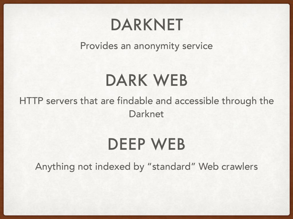 DARKNET Provides an anonymity service HTTP serv...