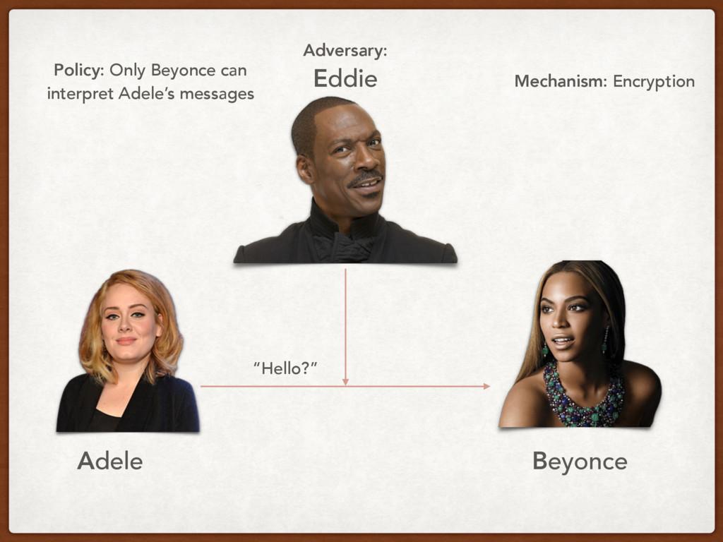 """Hello?"" Adele Beyonce Adversary: Eddie Policy:..."