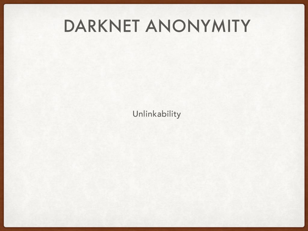 DARKNET ANONYMITY Unlinkability