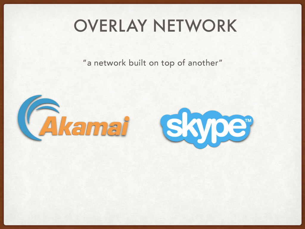 """OVERLAY NETWORK """"a network built on top of anot..."""