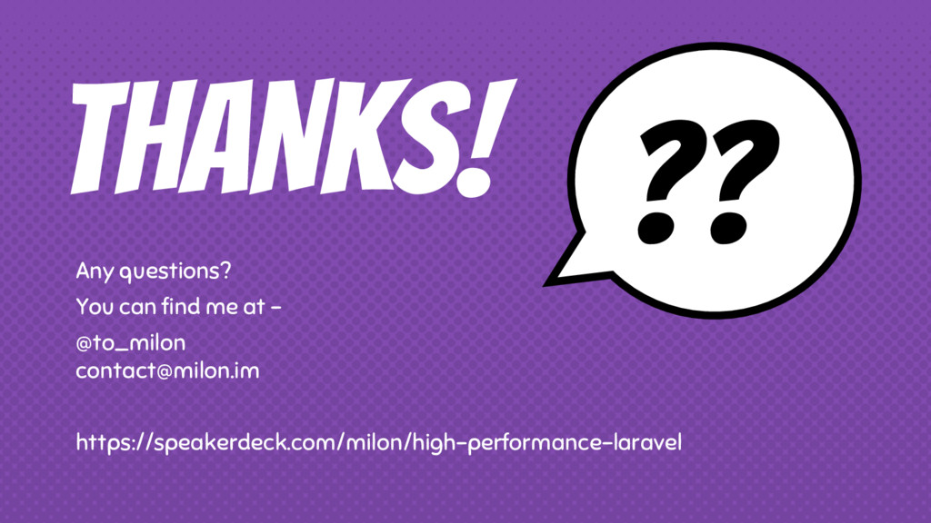 THANKS! Any questions? You can find me at - @to...