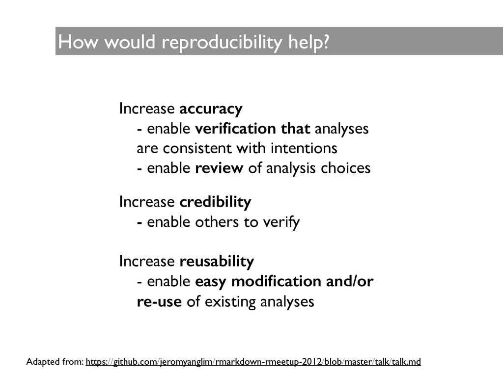 How would reproducibility help? Increase accura...